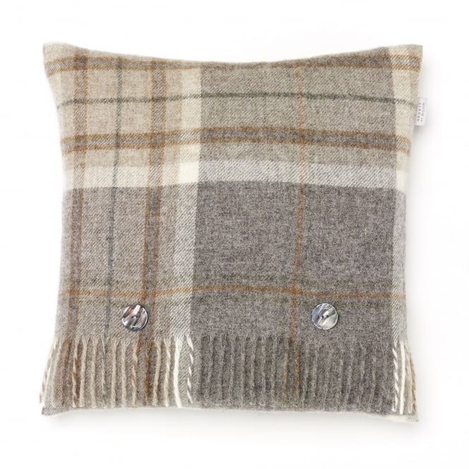 Bronte By Moon Naturally Bronte Pure New Wool Check Cushion - Aysgarth Mushroom Grey