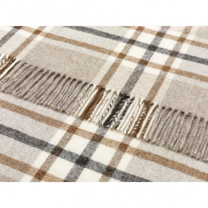 Bronte By Moon Naturally Bronte Pure New Wool Check Throw - Arncliffe Beige