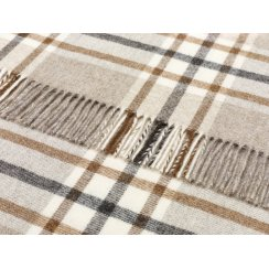 Naturally Bronte Pure New Wool Check Throw - Arncliffe Beige