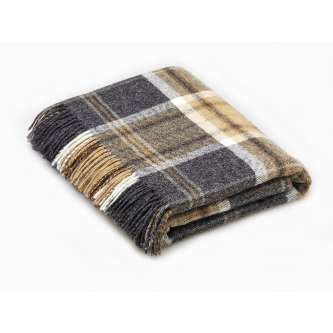Bronte By Moon Naturally Bronte Pure New Wool Check Throw - Aysgarth Charcoal Grey