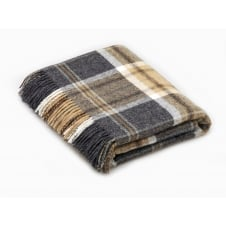 Naturally Bronte Pure New Wool Check Throw - Aysgarth Charcoal Grey