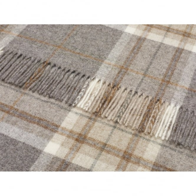 Bronte By Moon Naturally Bronte Pure New Wool Check Throw - Aysgarth Mushroom Grey