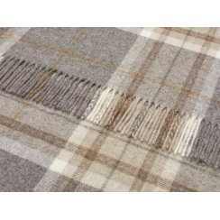 Naturally Bronte Pure New Wool Check Throw - Aysgarth Mushroom Grey
