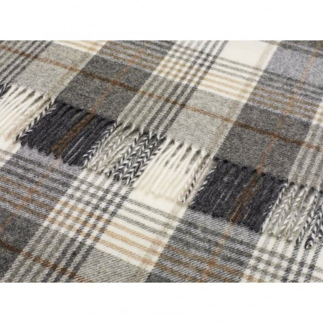 Bronte By Moon Naturally Bronte Pure New Wool Check Throw - Huntingtower Charcoal