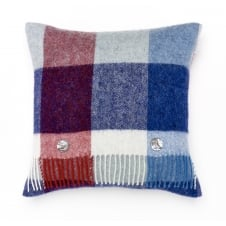 Rome Check Pure New Wool Cushion - Blue/Red