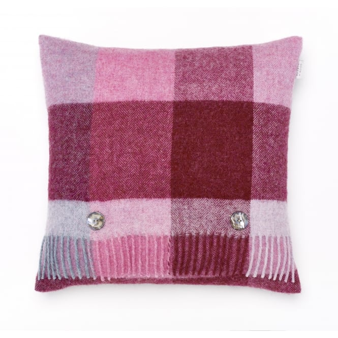 Bronte By Moon Rome Check Pure New Wool Cushion - Pink/Aqua