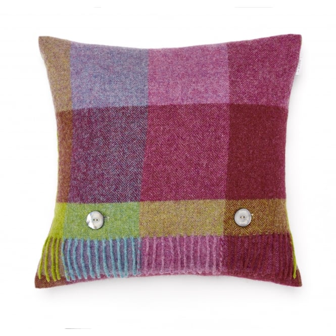 Bronte By Moon Rome Check Pure New Wool Cushion - Thistle