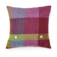 Rome Check Pure New Wool Cushion - Thistle
