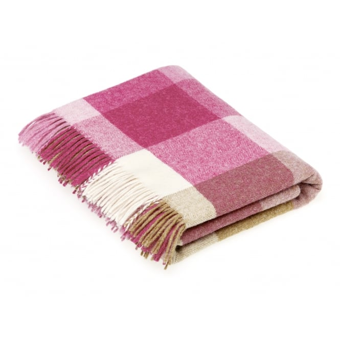 Bronte By Moon Rome Check Pure New Wool Throw - Pink/Natural