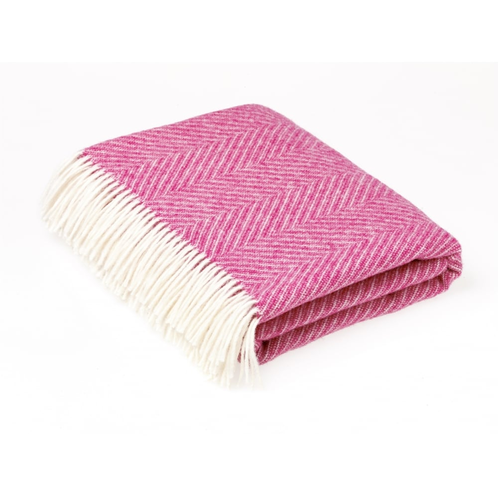 Bronte By Moon Shetland Herringbone Cerise Pink Throw Black By Design