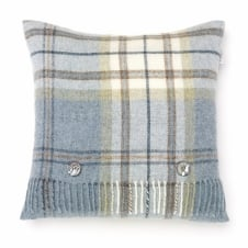 Shetland Pure New Wool Cushion - Aysgarth Aqua Blue Check