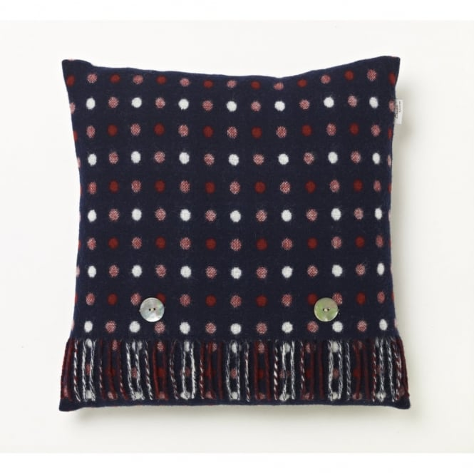 Bronte By Moon Spot Check Cushion - Navy Blue - Merino Lambswool