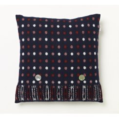 Spot Check Cushion - Navy Blue - Merino Lambswool