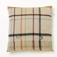 Variegated Windowpane Cushion - Beige - Merino Lambswool