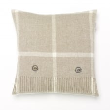 Windowpane Merino Lambswool Cushion - Beige