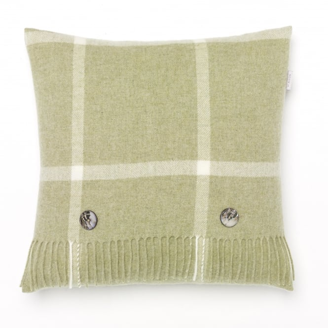 Bronte By Moon Windowpane Merino Lambswool Cushion - Sage