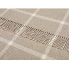 Windowpane Merino Lambswool Throw - Beige