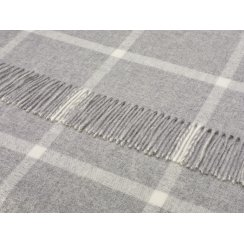 Windowpane Merino Lambswool Throw - Grey