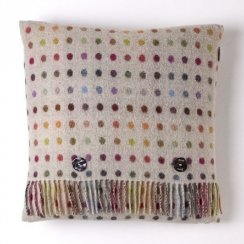 Multi Spot Check Lambswool Cushion - Beige