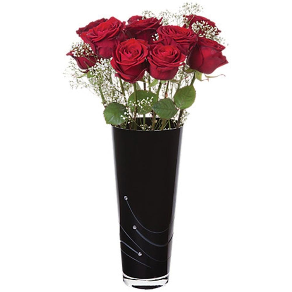 Dartington crystal glitz noir black conical vase black by design glitz noir black conical vase medium 30cm reviewsmspy