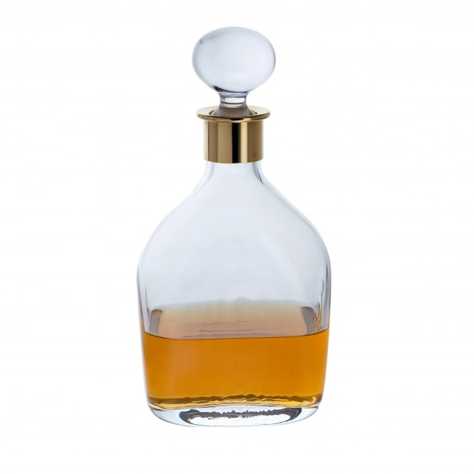 Dartington Crystal Murray Handmade Lead Crystal Spirit Decanter with Gold Plated Collar -75cl