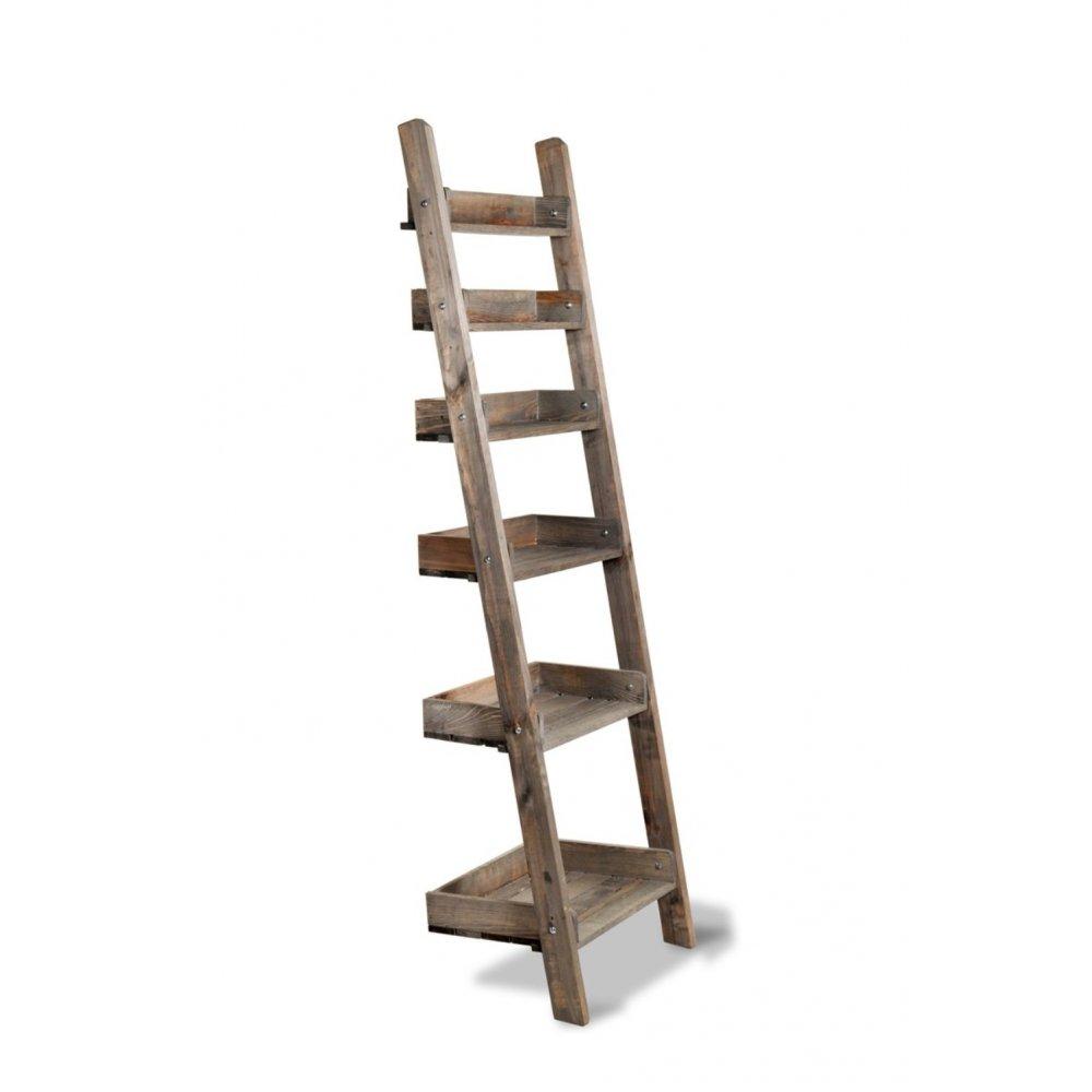 Garden trading aldsworth rustic wooden shelf ladder at for Decor ladder shelf