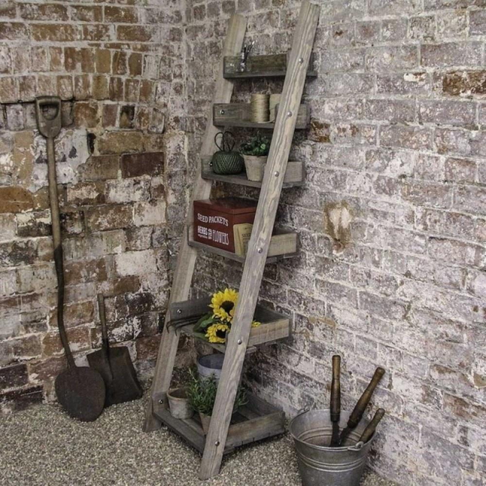 garden trading aldsworth rustic wooden shelf ladder at black by design. Black Bedroom Furniture Sets. Home Design Ideas