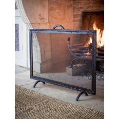 Cast Iron Firescreen With Mesh Screen - Large
