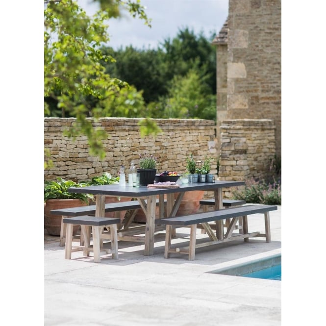 Garden Trading Chilson Table, Bench & Stool Set - Cement Fibre - Large