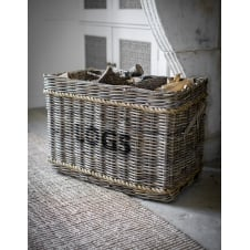 Log Basket with Rope - Rectangular
