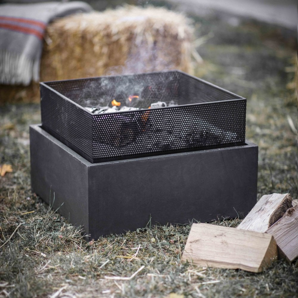 Garden Trading Lyneham Square Steel Fire Pit | Black by Design