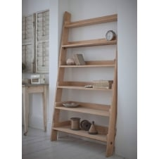 Raw Oak Shelf Ladder - Wide