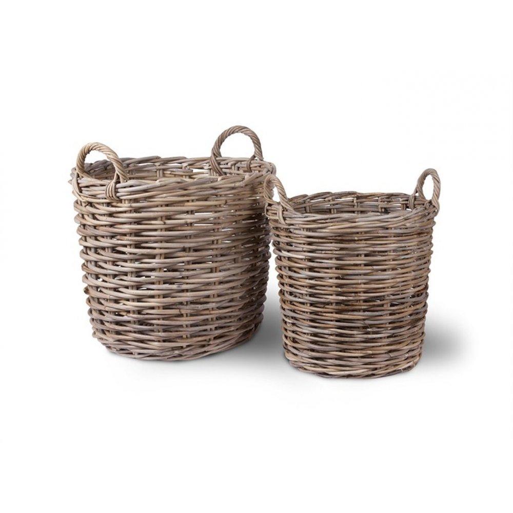 garden trading round rattan log baskets set of 2 black. Black Bedroom Furniture Sets. Home Design Ideas