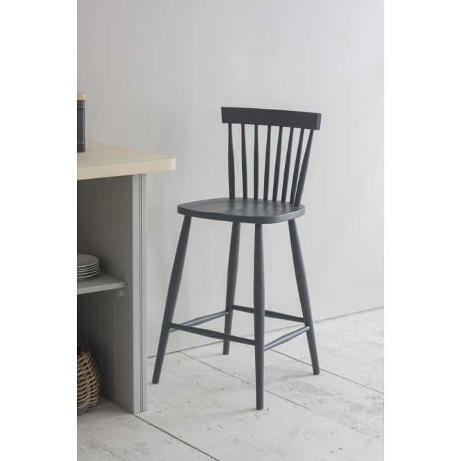 Garden Trading Spindle Bar Stool in Charcoal - Beech