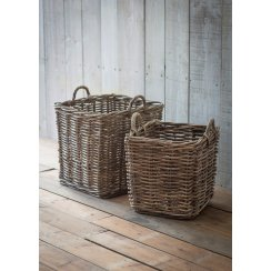Square Rattan Log Baskets - Set of 2