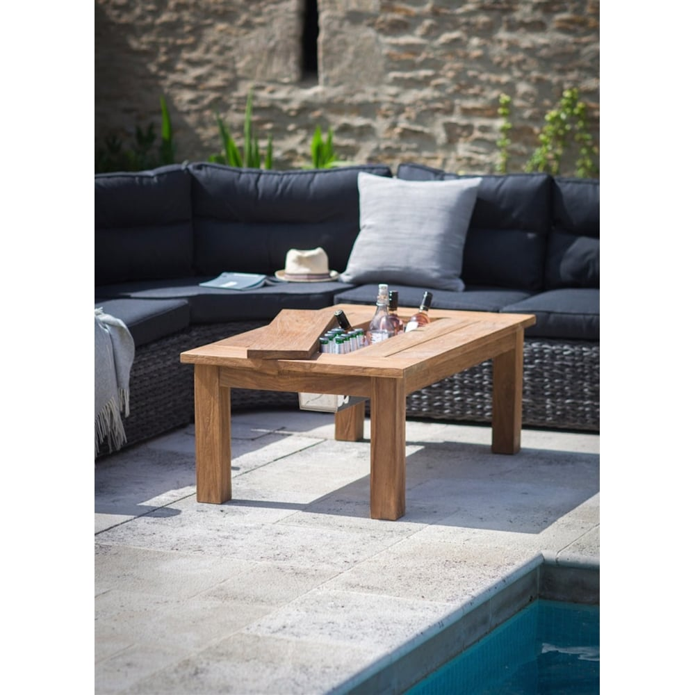 Garden Trading St Mawes Coffee/Drinks Table | Teak | Black ...