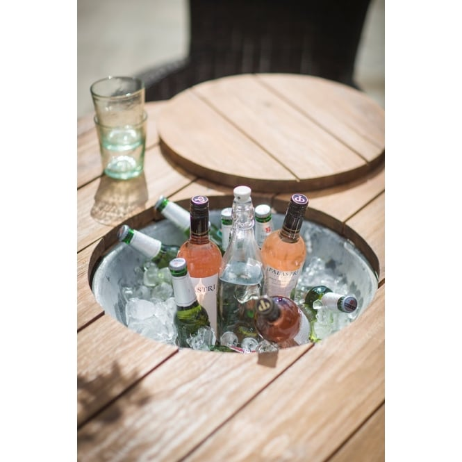 Garden Trading St Mawes Round Drinks/Planter Table - Reclaimed Teak