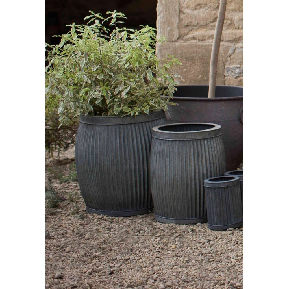 Garden Trading Vence Planters Set Of 2 Fluted Black By Design