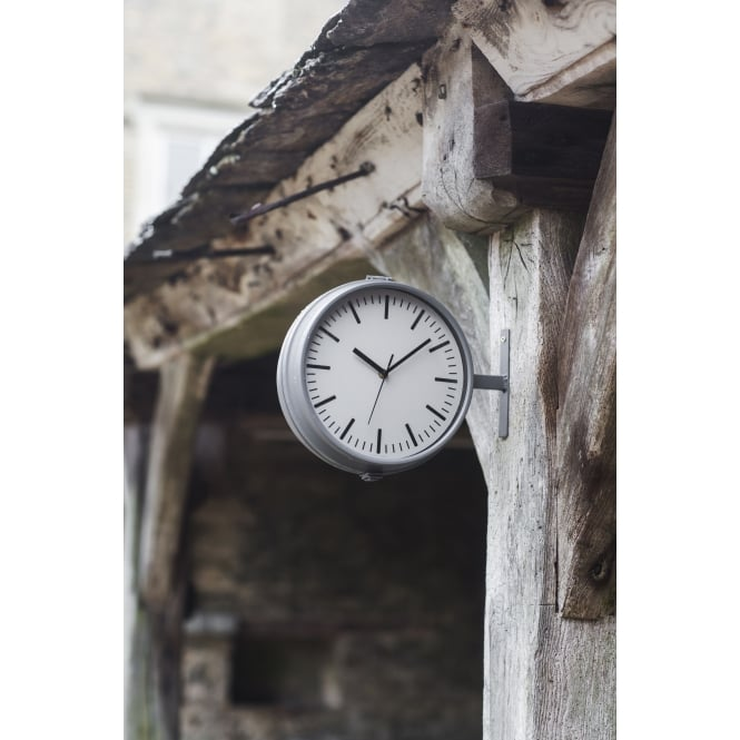 Garden Trading Waterloo Double Sided Outdoor Clock and Thermometer - Charcoal
