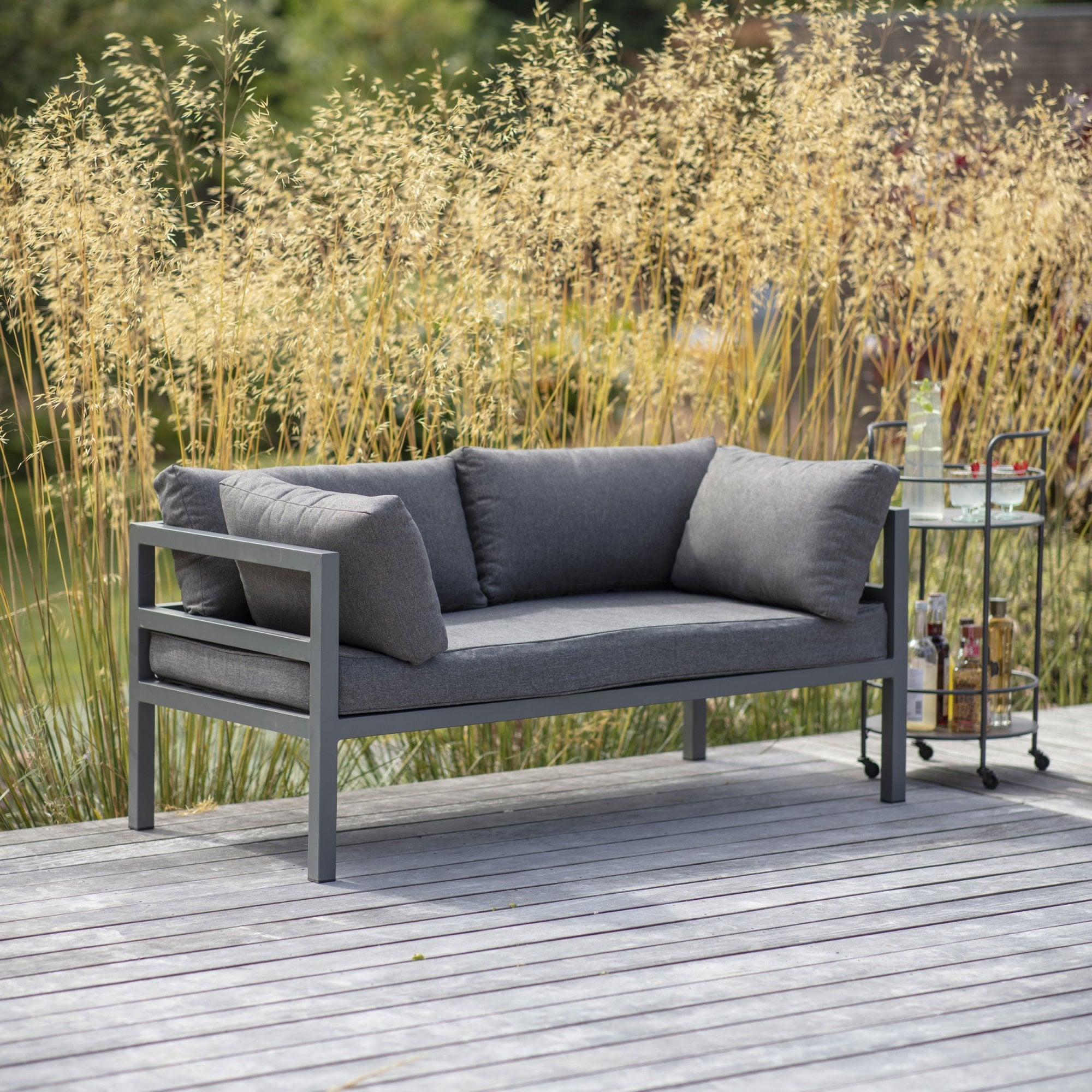 Sofa Back Wall Design, Garden Trading West Strand 2 Seater Sofa Aluminium Black By Design