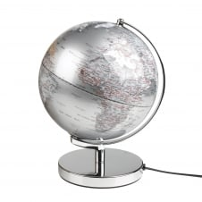 Illuminated Globe Light - Silver 25cm