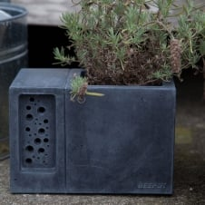 Beepot Concrete Planter & Bee Hotel - Charcoal