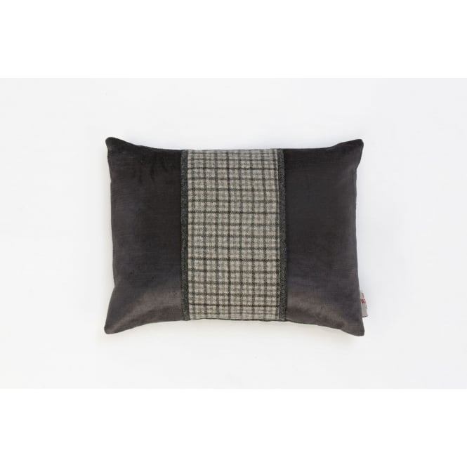 Hannah Williamson Grey Tweed Twist Boudoir Cushion - 40cm x 30cm