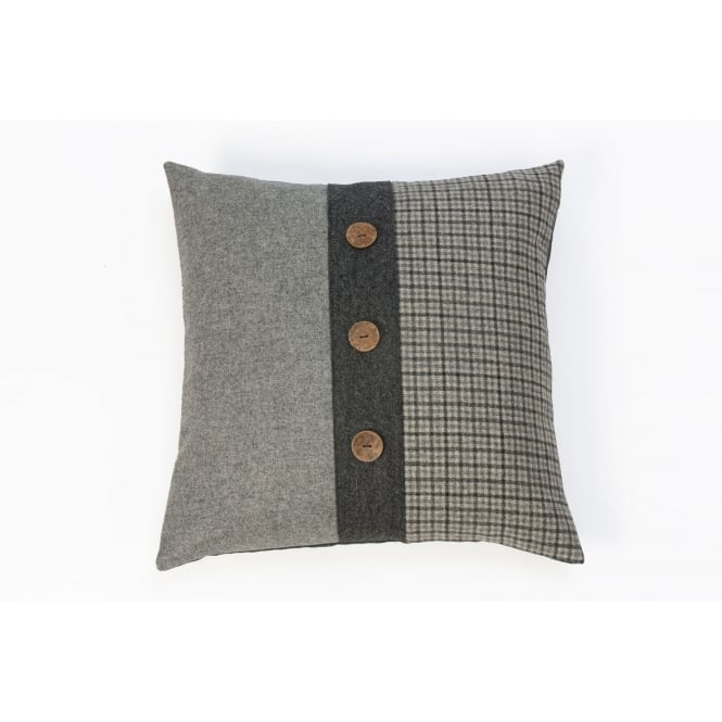Hannah Williamson Grey Tweed Twist Large Square Button Cushion - 55cm x 55cm