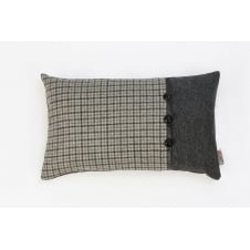 Grey Tweed Twist Leather Button Cushion - 50cm x 30cm