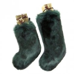 Luxury Faux Fur Christmas Stocking - Spruce