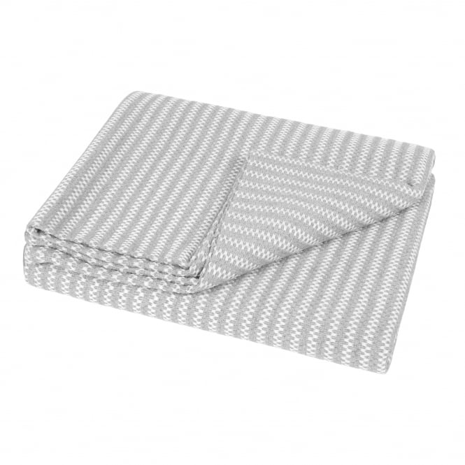 Helen Moore Revival Recycled Cotton Throw - Grey Stripe