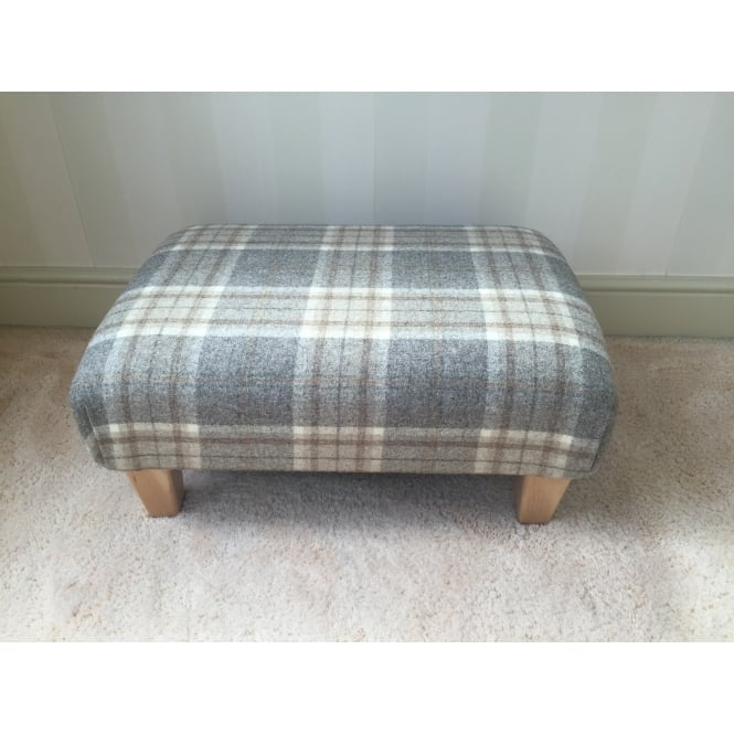 Hide & Thread Upholstered Footstool in Bronte by Moon Aysgarth Mushroom Check - Medium