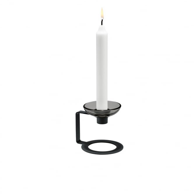 Holmegaard Lumi Candle Holder Black 9cm