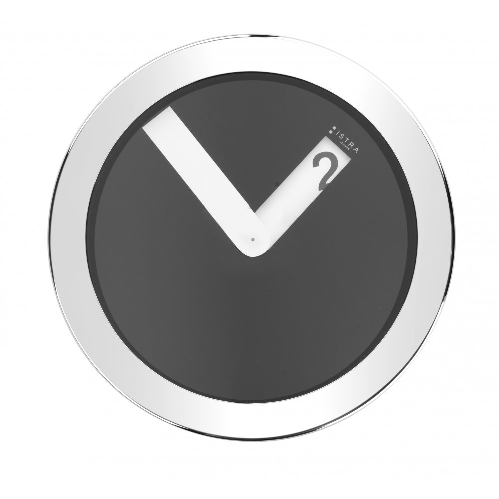 Istra London Stainless Steel Case Wall Clock Black
